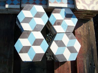 carreaux de ciment anciens r f cc8 carreaux de ciment hexagonaux france materiaux anciens. Black Bedroom Furniture Sets. Home Design Ideas